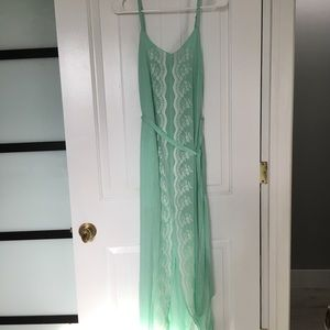 NWT Pastel Green Embroidered Maxi Dress